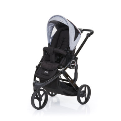 ABC Design Kinderwagen Cobra plus black-graphite grey, Gestell black / Sitz black - grau
