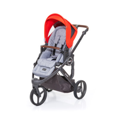 ABC Design Kinderwagen Cobra plus graphite grey-flame, Gestell cloud / Sitz graphite grey - rot