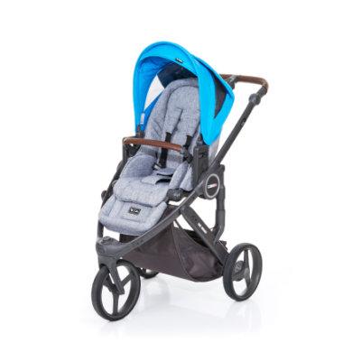 ABC Design Kinderwagen Cobra plus graphite grey-water, Gestell cloud / Sitz graphite grey - blau