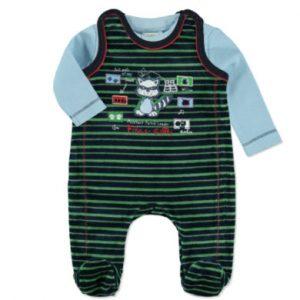 DIMO-TEX Nicki Strampler Set 2-tlg. Waschbär navy - bunt - Gr.Newborn (0 - 6 Monate) - Jungen