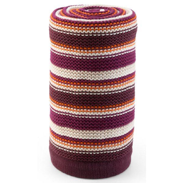 STOKKE ® Kinderwagen Strickdecke Purple/Orange Streifen - lila