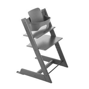 STOKKE ® Tripp Trapp® Hochstuhl Buche Strom Grey inkl. Baby Set Storm Grey - grau