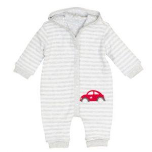 Salt and Pepper Wende-Strampler Bear light grey melange - grau - Gr.Newborn (0 - 6 Monate) - Jungen
