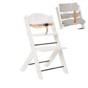 Treppy ® Hochstuhl weiß + Gratis Sitzkissen Stars