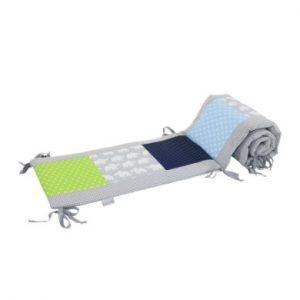 Ullenboom Patchwork-Nestchen für Babybett 120x60 cm Elefant Blau Grün (180 cm Kopfbereich) - bunt