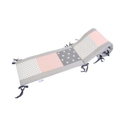 Ullenboom Patchwork-Nestchen für Babybett 140x70 cm Rosa Grau (420 cm Rundum) - bunt