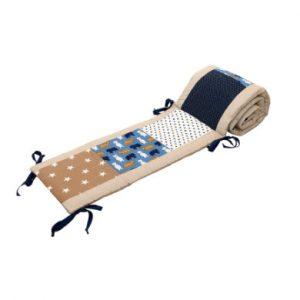 Ullenboom Patchwork-Nestchen für Babybett 120x60 cm Sand Bär (180cm Kopfbereich) - bunt