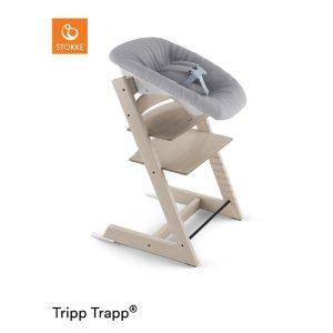 STOKKE® Tripp Trapp® Hochstuhl Buche weiß transparent inkl. Newborn Set™ Grey