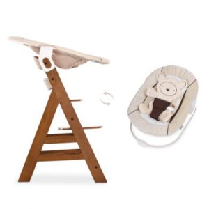 hauck Hochstuhl Alpha Plus Walnut inklusive Bouncer Hearts Beige