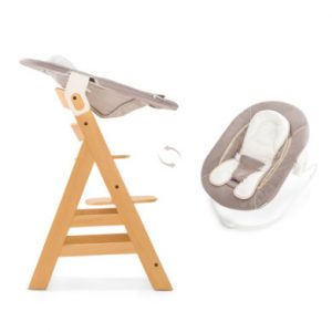 hauck Hochstuhl Alpha Plus Natur inklusive Bouncer Stretch Beige