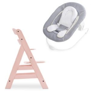 hauck Hochstuhl Alpha Plus Rose inklusive Bouncer Stretch Grey
