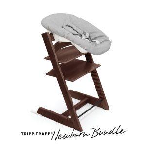 STOKKE® Tripp Trapp® Hochstuhl Buche walnussbraun inkl. Newborn Set™ Grey