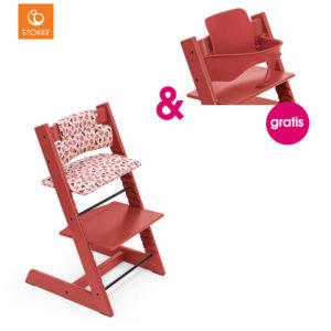 STOKKE® Tripp Trapp® Hochstuhl Buche Warm Red inkl. Classic Baby Sitzkissen Pink Fox + gratis Baby Set Warm Red